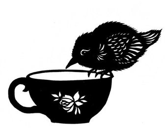 Tea Bird - 5 X 7 inch Cut Paper Art Print