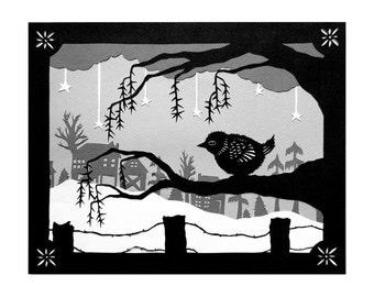 Warm Spot - 8 x 10 inch Cut Paper Art Print