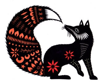Fox Tale - 5 x 7 Cut Paper Art Print
