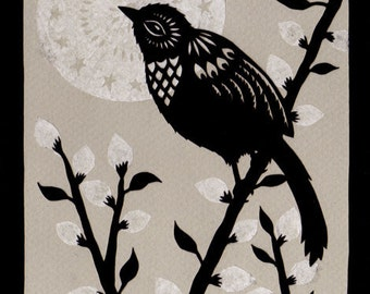Moonlit Willow - 5 x 7 inch Cut Paper Art Print