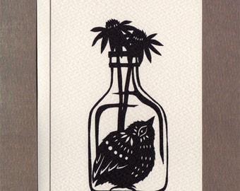 Bird in a Bottle - Notecard