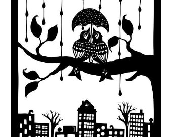Shelter Each Other - 11 x 14 inch Cut Paper Art Print