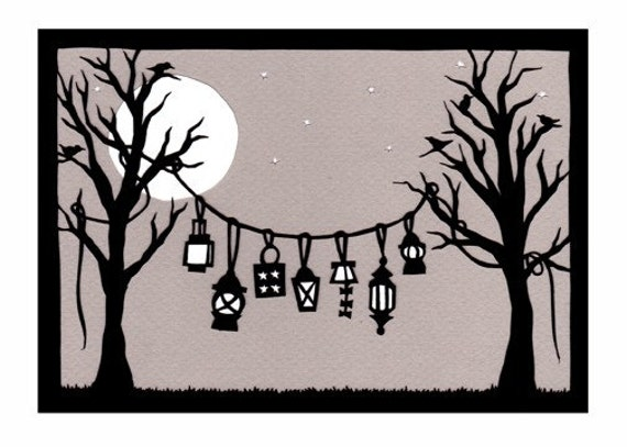 Lanterns - Cut Paper Art Print