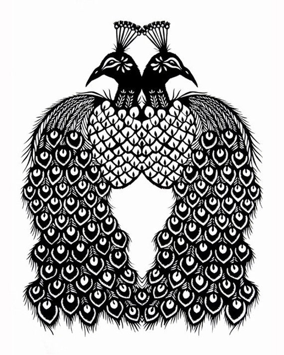 Peacocks - 8 x 10 inch Cut Paper Art Print