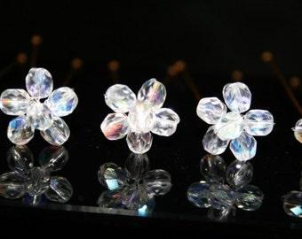 Czech Crystal Flower Hairpins Set of Six