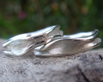 unique wedding rings handmade sterling silver wedding band set wavy channel shaped - set of 2 - made to order - handmade jewelry