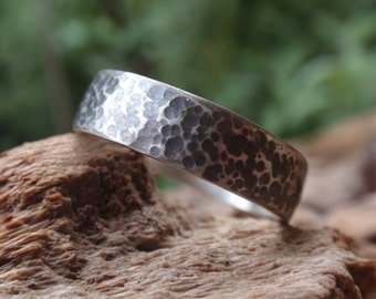 Mens Rustic Wedding Band, hammered wedding ring gift for men and women in oxidized sterling silver, 5mm - mens jewelry - gift for him