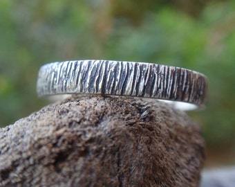 oxidized sterling silver bark texture wedding band ring gift for men and women - mens jewelry - twig rustic jewelry made to order - handmade