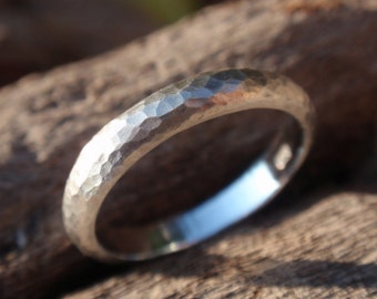 hammered wedding band for men or women - sterling silver wedding ring - 3mm - made to order - handmade jewelry