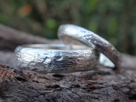 twig wedding rings - handmade wedding band set  of 2 - 5mm & 3mm - country wedding - made to order - men and women