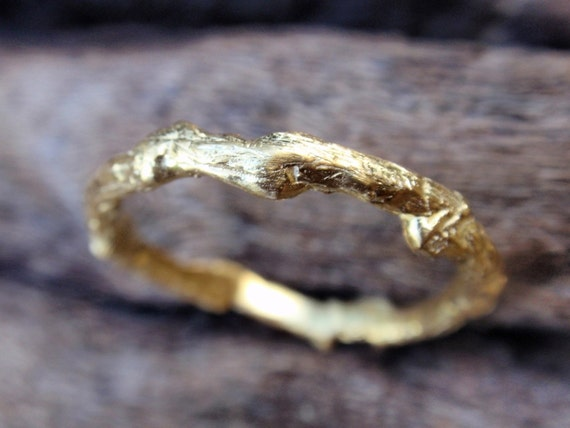 14k gold twig wedding band, wedding ring, engagement ring, solid gold branch wedding band handmade twig jewelry gift