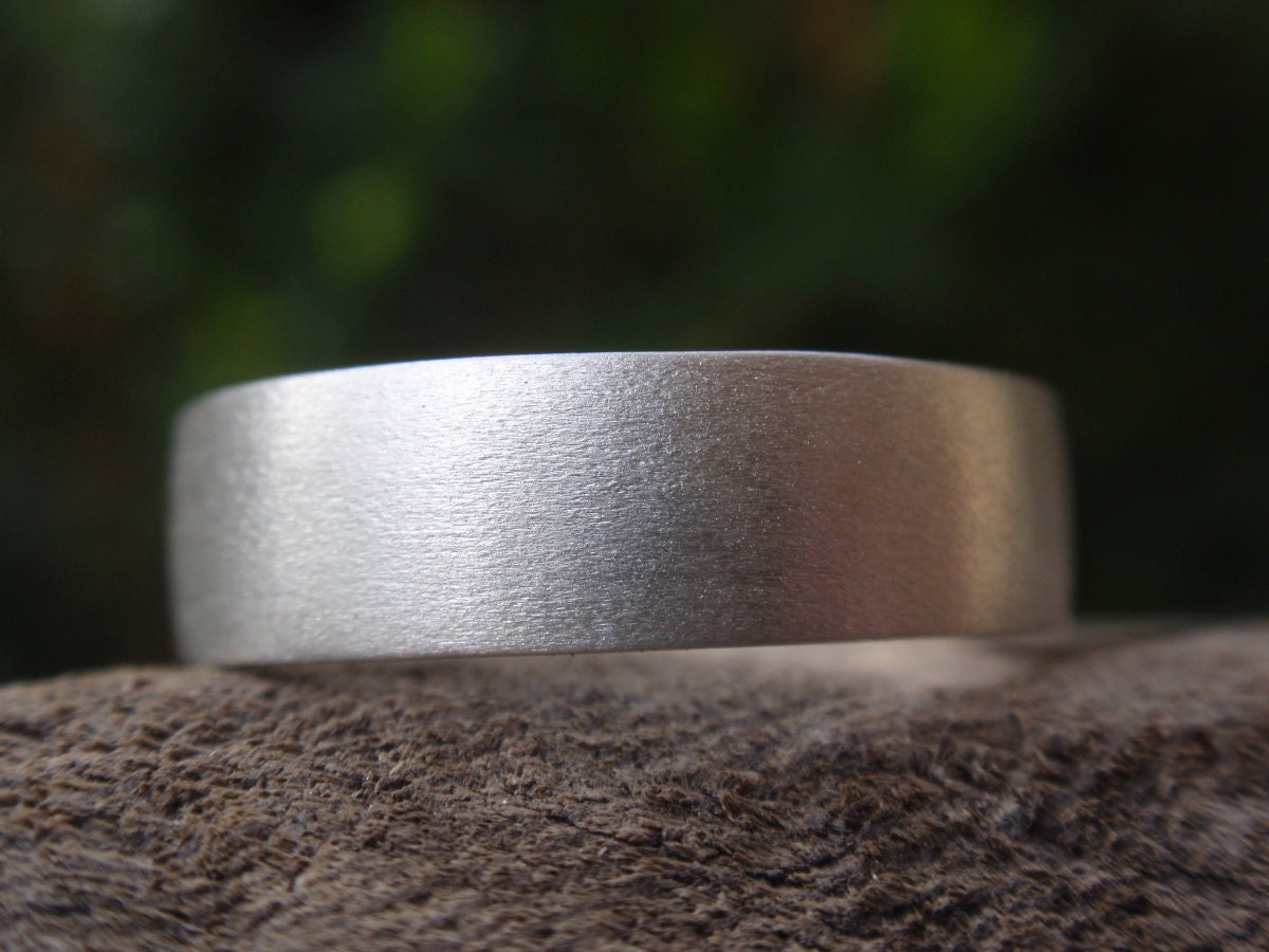 Mens Wedding Band 5mm Brushed Satin Finish Ring For Men And