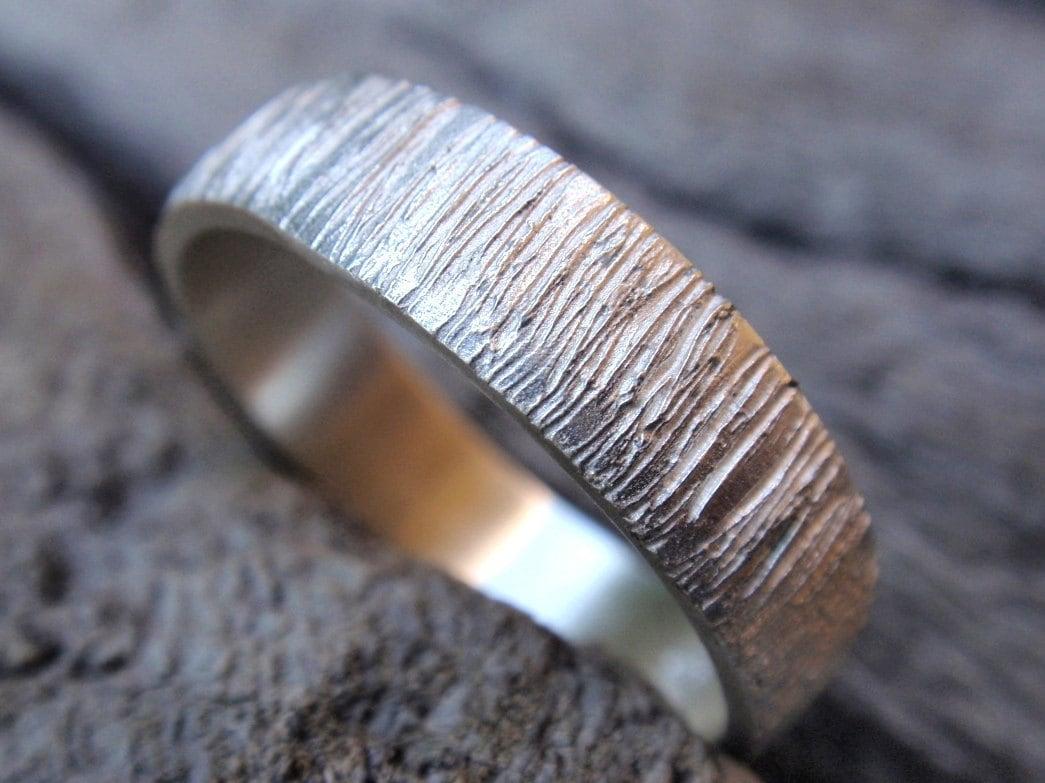 Tree Bark Wedding Band Ring Sterling Silver Wood Grain
