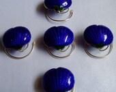 Royal Blue Cloisonne Seashell Wedding Hair Swirls Twists Spins Spirals Coils
