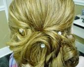 Ballroom Dancing Swarovski Bridal Hair Swirls in Crystal Clear Round Rhinestones