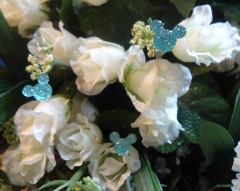 Bouquet Picks in Dazzling Aqua Blue Acrylic Mouse Ears