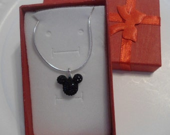 MOUSE EARS Necklace for Wedding Party in Dazzling Black Acrylic