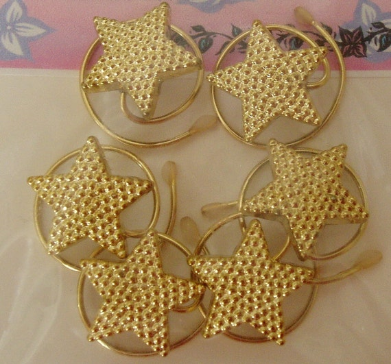 Hair Spins in Sparkling Tiny Gold Tone Stars Hair Swirls Coils Twists Twisties Spirals Majorette Hair Jewelry Ice Skater Accessory