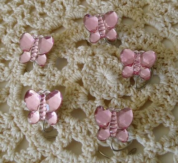 Acrylic Butterfly Hair Swirls Sparkling Pink Spins Spirals Twisties Coils