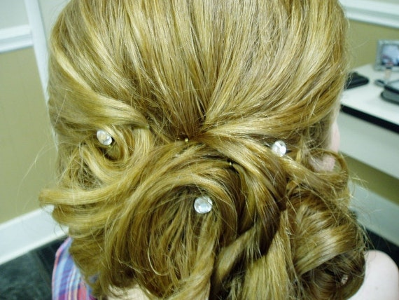 Ballroom Dancer Swarovski Bridal Hair Swirls Twists Spins Spirals Coils Hair Screws