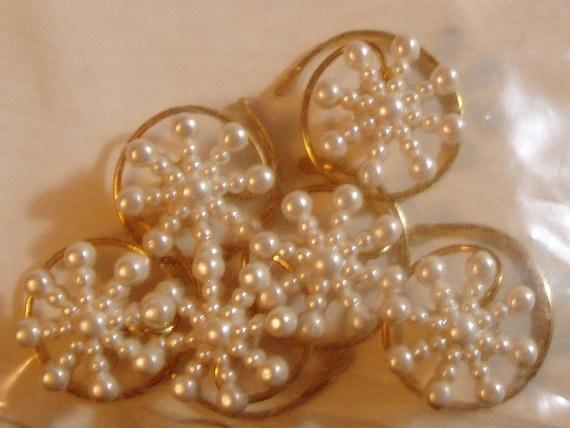 Cream Simulated Pearl Snowflake Hair Swirls Coils Twists Spins Spirals Debs Twisties