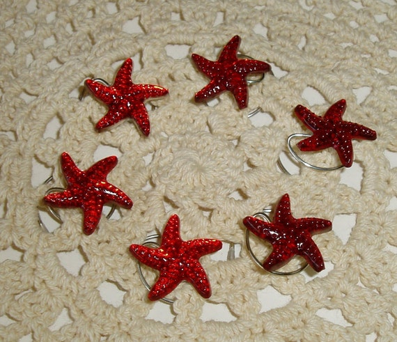 Starfish Hair Swirls Twists Spins Spirals in Red Acrylic for Beach Wedding Party