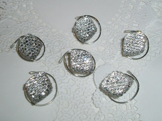 6 Hair Swirls in Dazzling Acrylic Diamonds   Perfect for Prom or Bridal Party