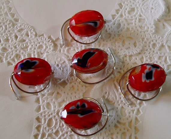 Red White and Blue HAIR SWIRLS in Faceted Ovals Ballroom Dancing Hair Jewelry