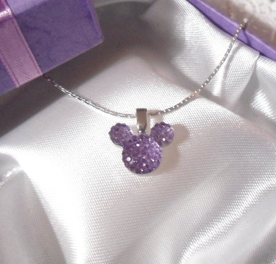 MOUSE EARS Necklace for Disney Themed Wedding Party in Dazzling Lavender Acrylic