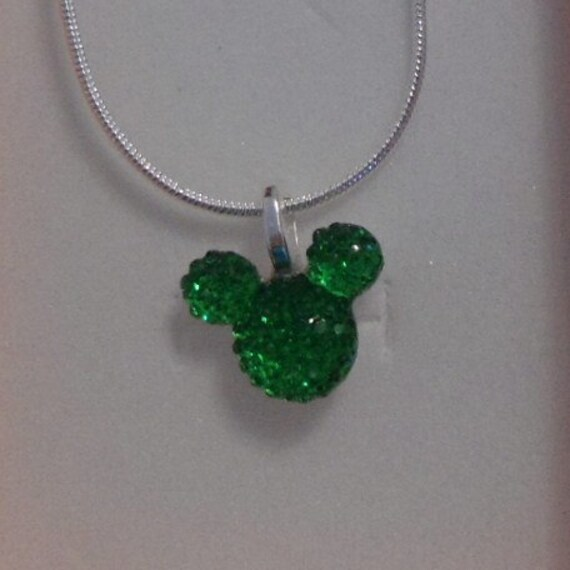Disney Flower Girl Gift-Disney Wedding MOUSE EARS Necklace-Bridal Party Gifts-Green Acrylic