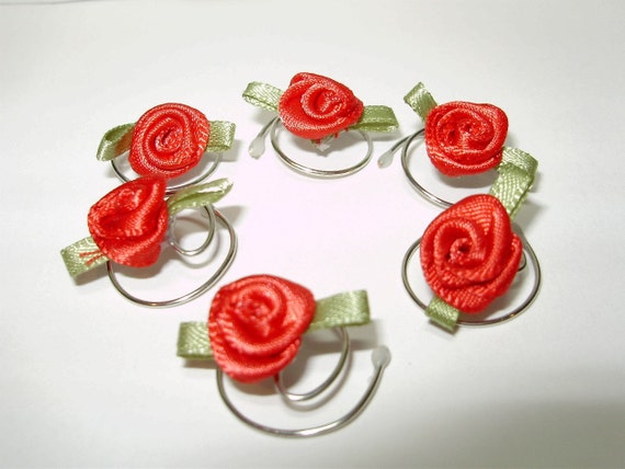 Red Rose Hair Swirls-Bridesmaid Hair Twists-Wedding Hair Spins-Hair Spirals