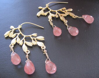 Cherry quartz Earrings on 16K golden leaves  -Rain drops