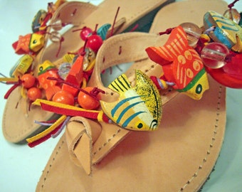 "Greek genuine leather handmade embellished sandals with wooden fishes  ""Fish Spa"""