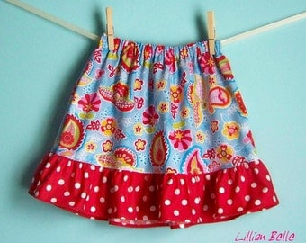Lillian Belle Girls Ruffle Skirt Euro Style Floral Paisley with Red Polka Dot- Custom Size 6M 12M 18M 2T 3T 4T 5 6