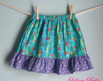 Lillian Belle Girls Ruffle Skirt Ocean Little Fishies Custom Size 6M 12M 18M 2T 3T 4T 5 6