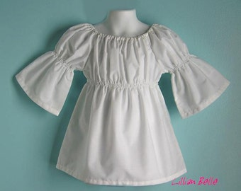 Lillian Belle Girls WHITE Peasant Top Long - Short - 3/4 Sleeve - Custom Size 6M 12M 18M 2T 3T 4T 5 6