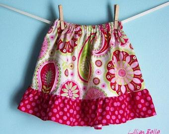 Lillian Belle Girls Ruffle Skirt Paisley Floral with Polka Dot Custom Size  6M 12M 18M 2T 3T 4T 5 6