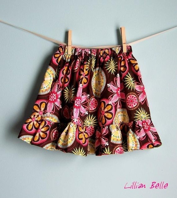 Lillian Belle Ruffle Skirt Michael Miller Carnival Bloom Fall Custom Size 6M 12M 18M 2T 3T 4T 5 6