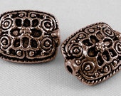 20 Spacer Beads in Antiqued Copper with Flower Design- 14x11mm