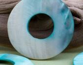 2 Shell Pendants or Focals- Light Blue