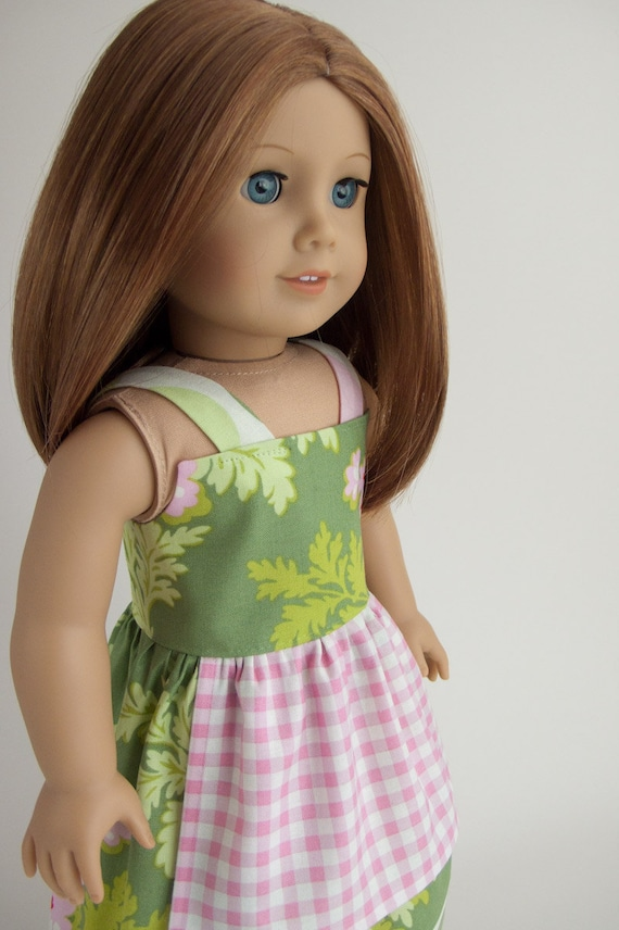 """18"""" American Girl 18 Inch Doll Clothing Apron Sundress in Pink and Green Heather Bailey Fabric"""