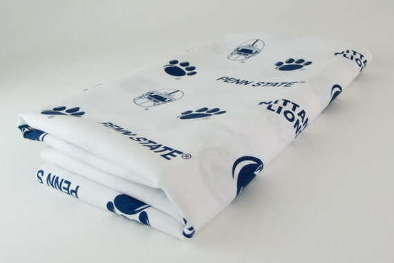"Cotton Destash Craft Fabric Quilt Penn State Nittany Lions White Blue 29"" x 44"" Piece Paw Prints Lion Head"