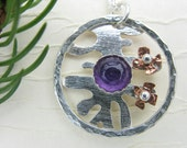 Sterling silver circle necklace - purple amethyst necklace - Copper Flowers