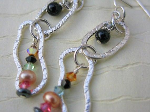Textured sterling silver beaded semi precious dangle earrings - black onyx, pink pearl. and aurora borealis Swarovski crystals