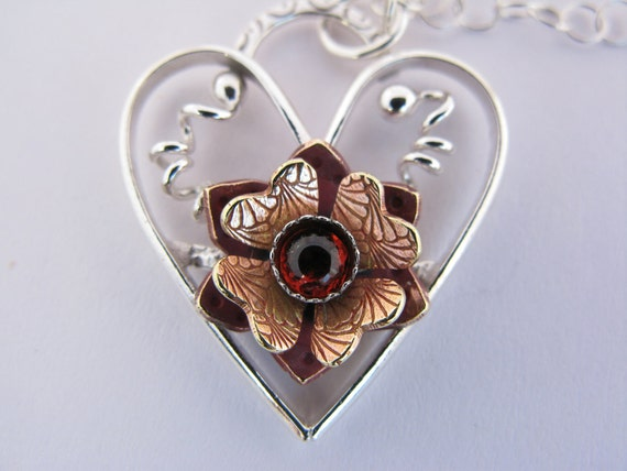 Sterling silver heart necklace or pendant - flower - branch twig necklace - valentine's day - semi-precious red garnet pendant