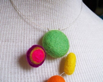 Floating Spheres 03 - Bright Felt Unique Pendant
