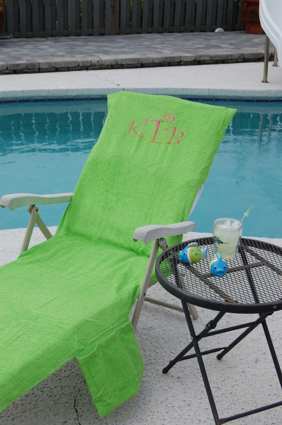 Monogrammed Personalized Terry Cloth Lounge Chair Cover