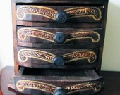 Wood, etched, hand-painted (jewelry) box with 4 drawers