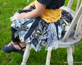 Fabric Scraps Tutu Skirt Black White Yellow Dainty Daisy size 2T 3T 4T