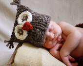 NEW Sweet Little Hoot Owl Hat in Brown Tweed Photography Prop FREE SHIPPING
